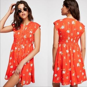 Free People red greatest day smocked mini dress